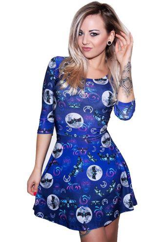 Midnight Sugar Skull Skeleton Butterfly Bat Moon Symbol Halloween Print Three Quarter Sleeve Dress