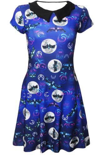 Midnight Sugar Skull Skeleton Butterfly Bat Moon Symbol Halloween Printed Bat Collar Skater Dress