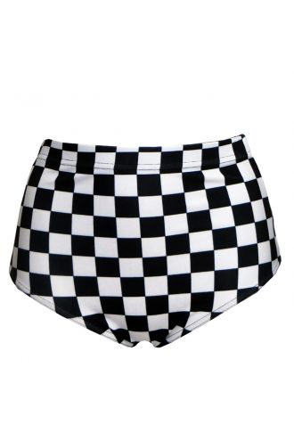 Monochrome Chequered Chess Board High Waist Bikini Bottoms