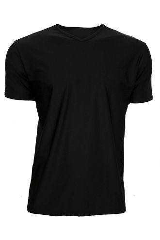 Men's Black Lycra Stretchy V-Neck TShirt Top Party Club Rave