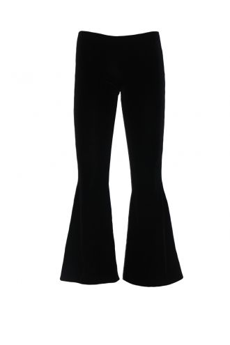 Black Gothic Velvet Velour Flare Bottom Trousers Goth Punk Emo