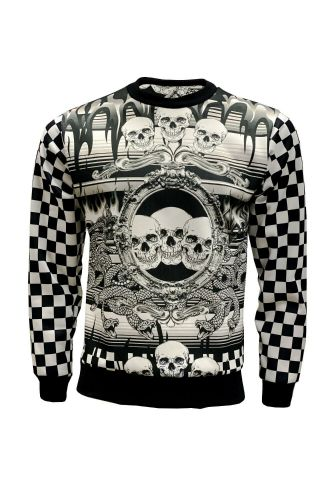 Designer Monochrome Chequer Flames Skulls Snakes Printed Crew Neck Sweatshirt Jumper
