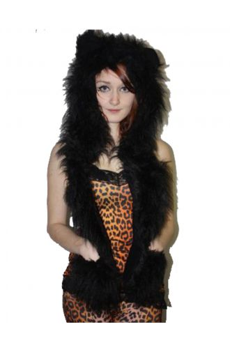 Black Fluffy Fur Scarf/Hood With Ears
