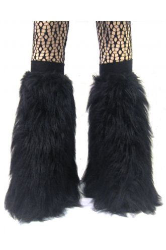 Black Fluffy Legwarmers - Boot Covers