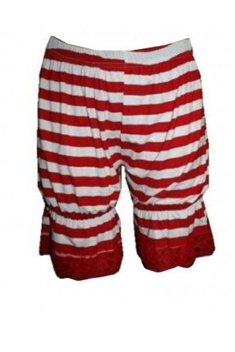Red And White Stripes Striped Short Bloomers