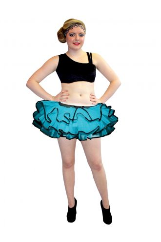 Neon UV Blue Bustle Frill Lilly Trim Tutu Skirt