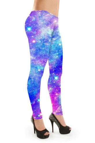 Multi Blue Galaxy Space Stars Printed Leggings