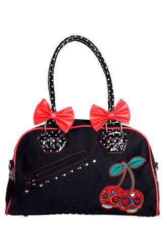 Cherry Skull And Adorable Bows Polka Dots Top Handle Handbag
