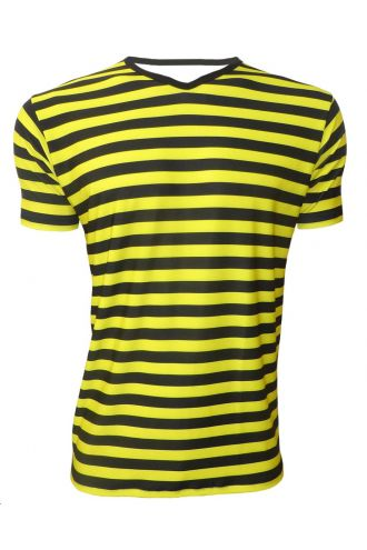 Bumble Bee Yellow And Black Stripes Printed V-Neck T-Shirt Top