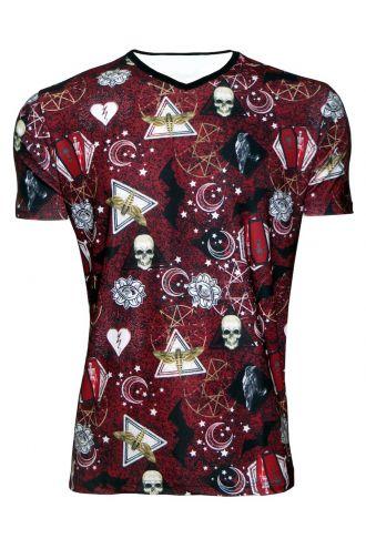 Bats Moon Stars Pentagram Broken Heart Coffin Printed V-Neck TShirt Tee Top