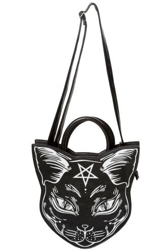 Banned Stunning Cat And Pentagram Gothic Print Cross Body Handbag