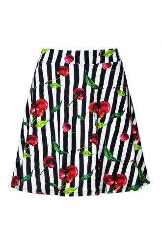 Cherry Tart Monochrome Striped Vintage Retro Print Skater Skirt