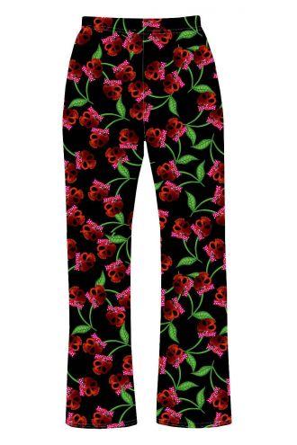 Gothic Cherry Skulls Printed Loungewear Sleepwear Pyjama Bottoms Pants