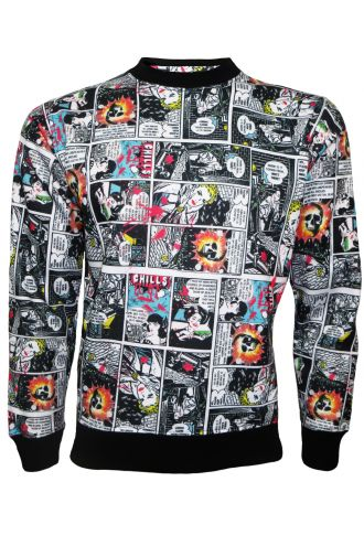 Comic Strip Book Retro Classic Print Crew Neck Designer Sweatshirt Jumper Top
