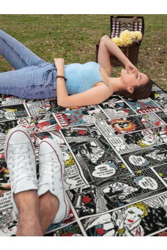 Comic Strip Book Retro Classic Digital Print Check Flames Throw Blanket