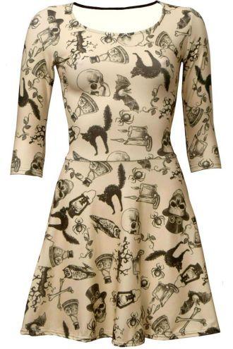 Vintage, Bats, Skulls, Owl, Spider, Spooky Cat, Steampunk Skull 3/4 Sleeve Skater Dress