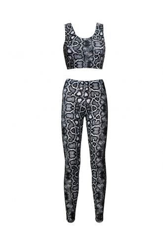 Classic Monochrome Snake Python Skin Print Sleeveless Crop Top Leggings Coord Set