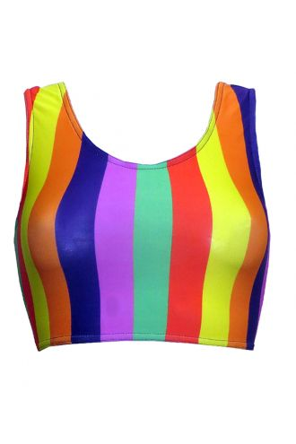 Funky Multicoloured Rainbow Vertical Stripes Sleeveless Crop Top