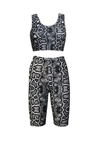 Classic Monochrome Snake Python Skin Print Sleeveless Crop Top Cycle Shorts Coord Set