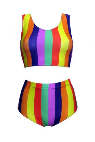 Funky Multicoloured Rainbow Vertical Stripes Sleeveless Crop Top High Waist Bikini Pants Coord Set