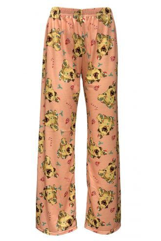 Cute Puppies Dog Candy Canes Printed Loungewear Sleepwear Pyjama Bottoms Pants