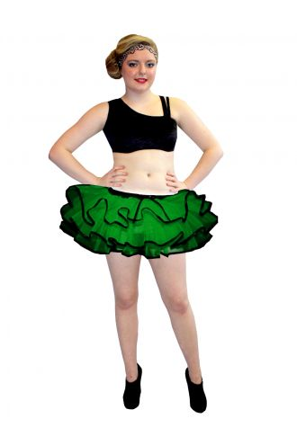 Neon UV Dark Green Bustle Frill Lilly Trim Tutu Skirt