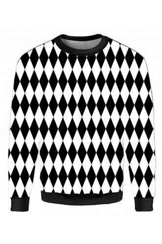 Monochrome Harlequin Diamonds Printed Crew Neck Sweatshirt Jumper
