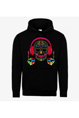 Funky Colourful DJ Pop Sugar Skull Pull Over Fleece Hoodie