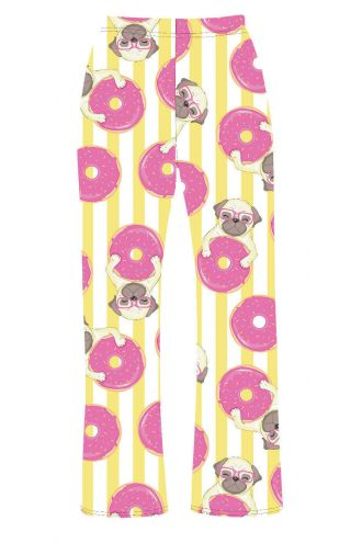 Funny Cute Pug Dog Donuts Animal Lovers Printed Loungewear Sleepwear Pyjama Bottoms