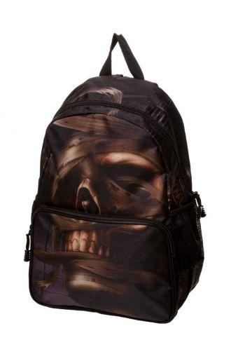 Banned Mummified Brown Skull Backpack Rucksack Bag