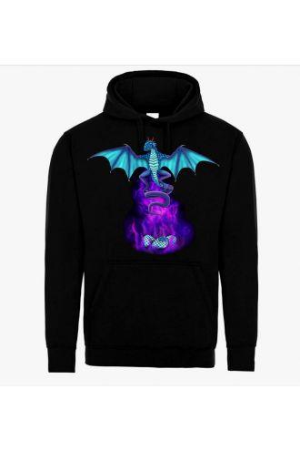 Unisex Electric Blue Fire Breathing Dragon Sword Skull Jumper Sweatshirt