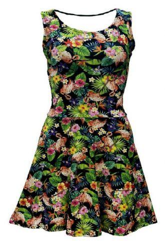 Girls Tropical Flowers Floral Flamingo Print Sleeveless Skater Dress