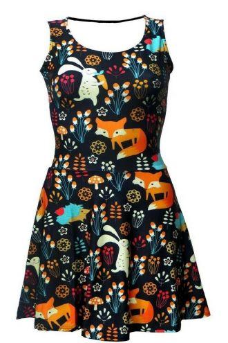Girls Floral Fox, Rabbit, Hedgehog Animal Nature Print Sleeveless Skater Dress