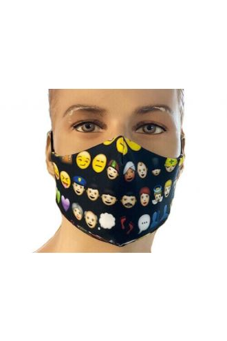 Emoji Smiley Emoticon Icons Print Reusable Washable Face Covering Masks