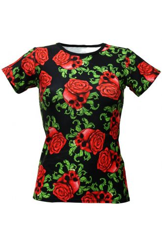 Enchanting Skulls Red Roses Gothic Print Crew Neck T-Shirt Top