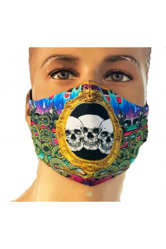 Gothic Multi Flames Skulls Snakes Fire Punk Printed Reusable Washable Face Covering Masks