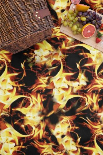 Hot Fire Flames Digital Print Check Flames Throw Blanket
