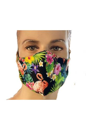 Tropical Flamingo Flowers Floral Print Reusable Washable Face Covering Masks