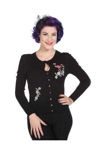 Retro Classic Fit Floral Flamingo Embroidered Vintage Knitted Cardigan