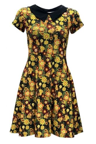 Retro Colourful Summer Flowers Wild Meadow Floral Printed Collar Dress