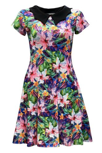 Tropical Floral Watercolour Exotic Palm Leaves Retro Vintage Swing Punk Rockabilly Printed Collar Dress