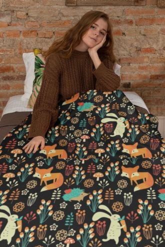 Floral Fox, Rabbit, Hedgehog Animal Nature Digital Print Check Flames Throw Blanket