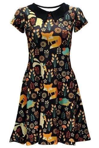 Floral Fox, Rabbit, Hedgehog Animal Nature Printed Collar Dress