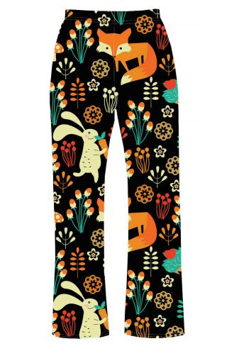 Floral Fox, Rabbit, Hedgehog Animal Nature Print Loungewear Sleepwear Pyjama Bottoms Pants