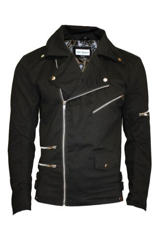 Bella Black Zip Up Biker Racing Style Classic Jacket Coat With Zip And Button Detailing