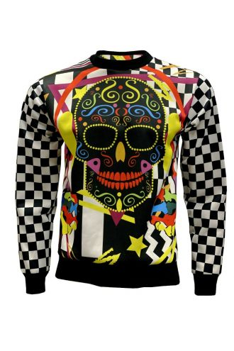 Funky Colourful DJ Pop Sugar Skull Chequer Printed Crew Neck Sweatshirt Jumper
