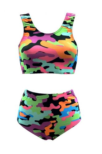 Multi Funky Camouflage Printed Sleeveless Crop Top High Waist Bikini Pants Coord Set