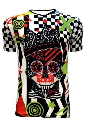 Funky Colourful King Crown Skull Chequer Men's V-Neck Designer T-Shirt Tee