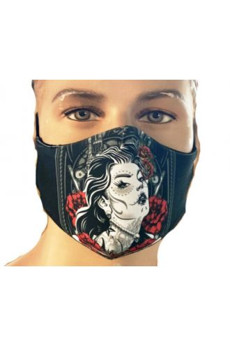 Sugar Skull Mexican Skeleton Guns Bones And Roses Printed Reusable Washable Face Covering Masks