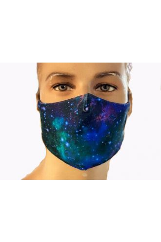 Galaxy Space Stars Blue Pink Print Reusable Washable Face Covering Masks